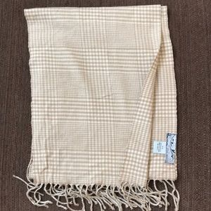 "Steve Madden scarf. 62"" long. Tan/white plaid."